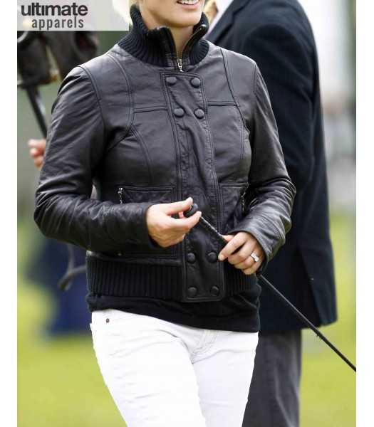Zara Phillips Black Leather Jacket