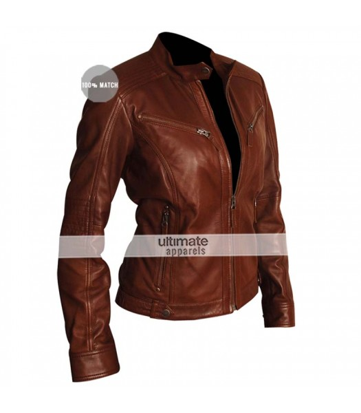 Designers Female Brown Motorcycle Leather Jacket