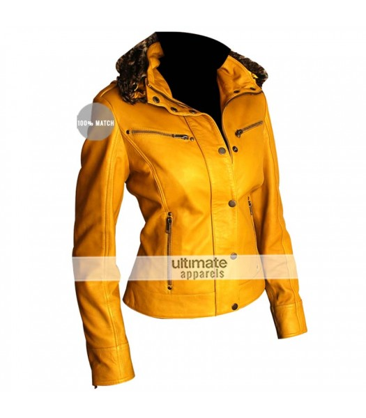 Female Yellow Leather Jacket With Fur Collar
