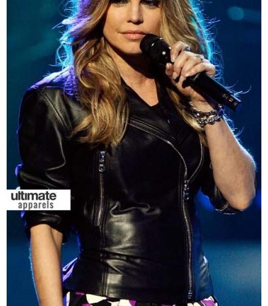Fergie Duhamel Black Eyed Peas Black Biker Jacket