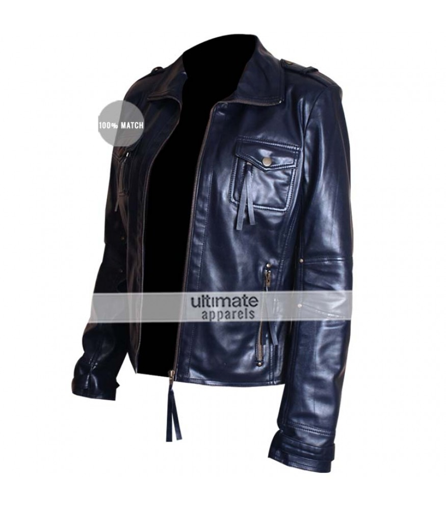 Slim Fit Navy Blue Women's Leather Jacket