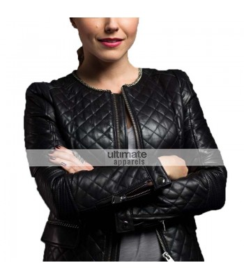 Sophia Bush Stylish Quilted Black Leather Jacket