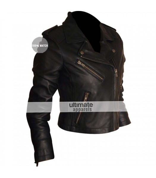 Designers Female Short Black Casual Biker Jacket