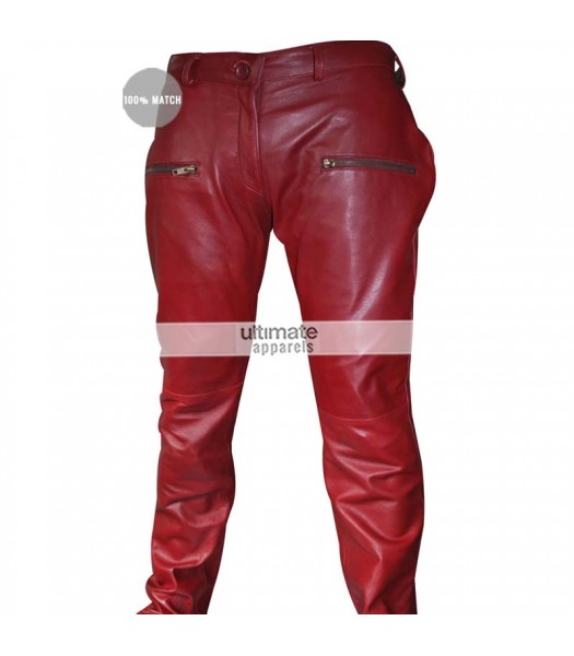 Kylie Jenner Burgundy Maroon Women Leather Pants