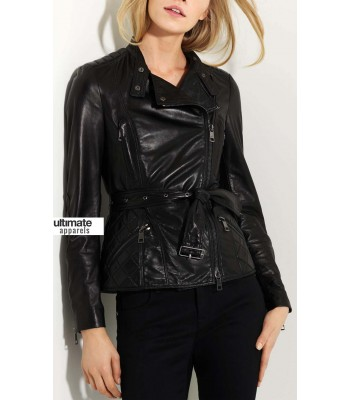 Burberry London Women Quilted Leather Jacket with Belt