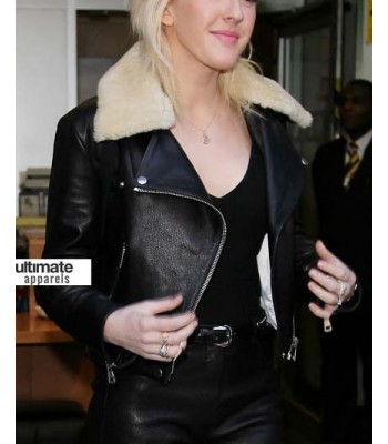 Ellie Goulding Black Jacket Clothing With Fur Collar