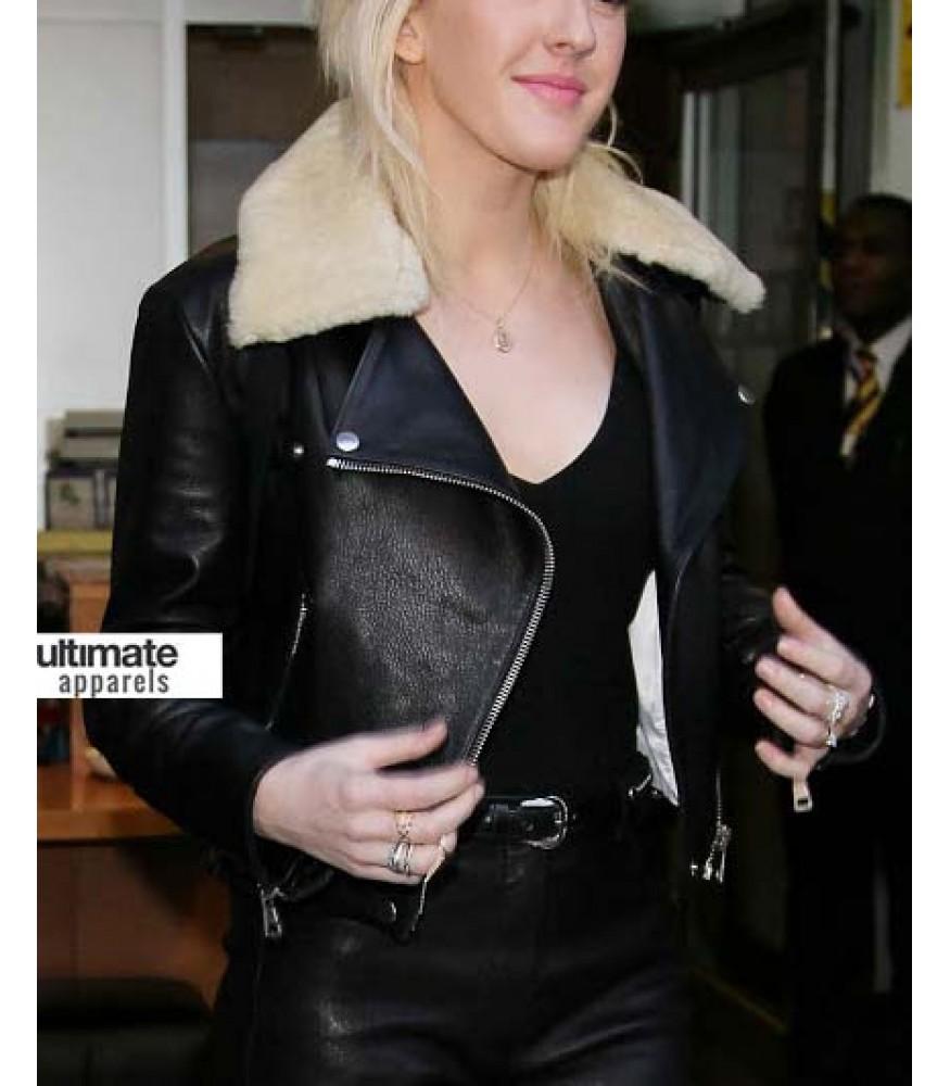 Ellie Goulding Black Jacket Clothing With Fur Collar