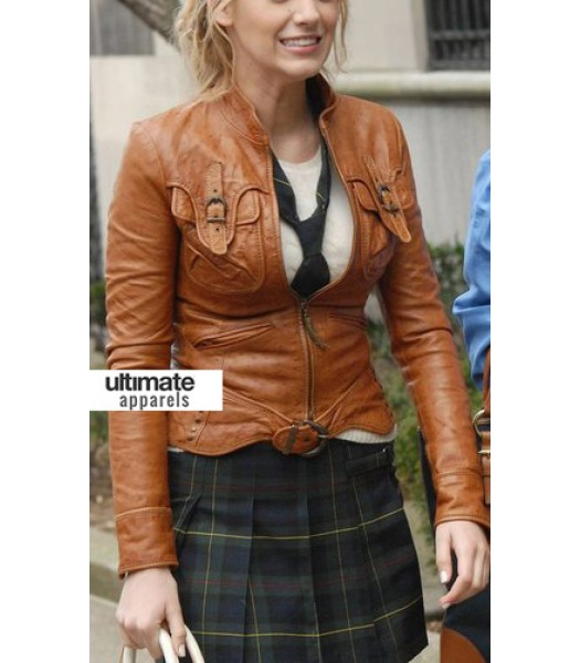 Gossip Girl Blake Lively (Serena Van Der Woodsen) Brown Jacket