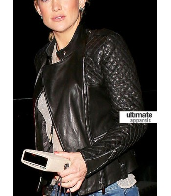 Kate Hudson Black Quilted Biker Leather Jacket