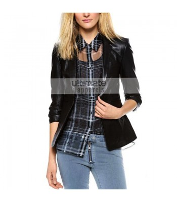 Ladies Elizabeth and James Leather James Black Blazer