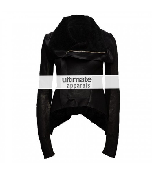 Rihanna Womens Black Shearling Asymmetrical Zipper Jacket