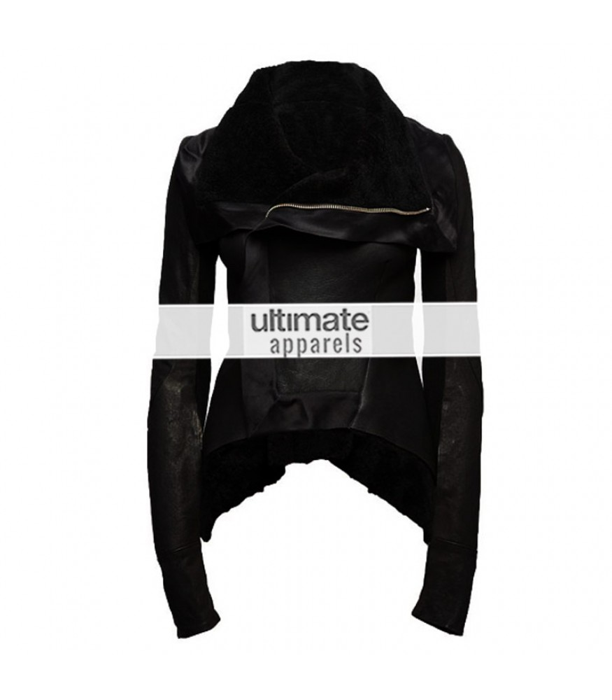 Rihanna Womens Black Shearling Asymmetrical Zipper Jacket