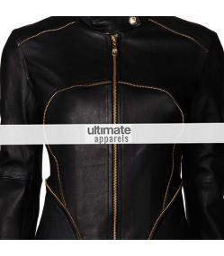 Versace Women Black Zip Trim Biker Slim Fit Jacket