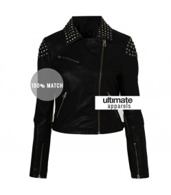 WWE Paige NXT Black Studded Black Biker Ladies Jacket