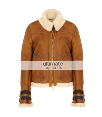 Women Dsquared Shearling Aviator Brown Jacket
