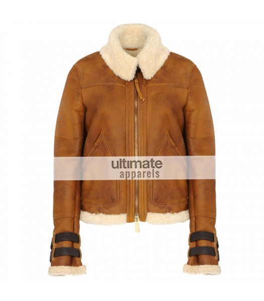 Women Dsquared Shearling Aviator Brown Jacket