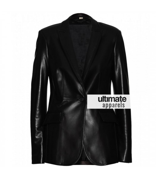 Scarlett Johansson Women One Button Black Blazer Jacket