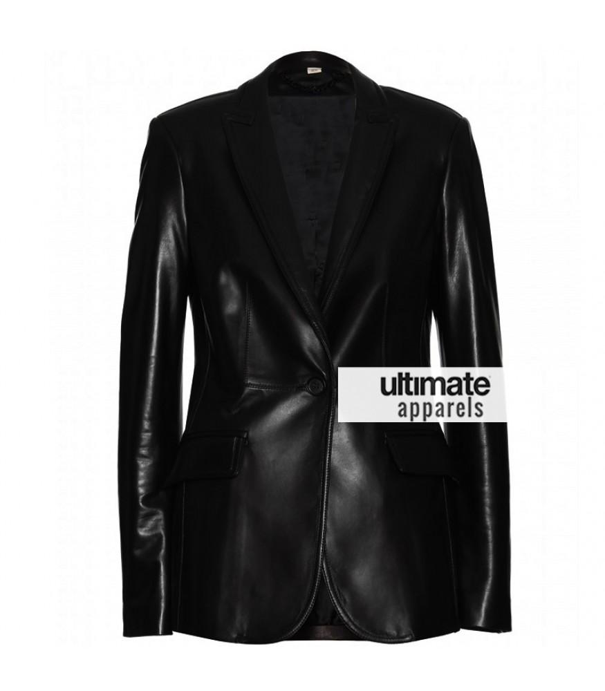 Scarlett Johansson Women One Button Black Blazer Jacket