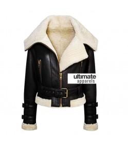Women's Aviator Flight Shearling Bomber Fur Black Jacket