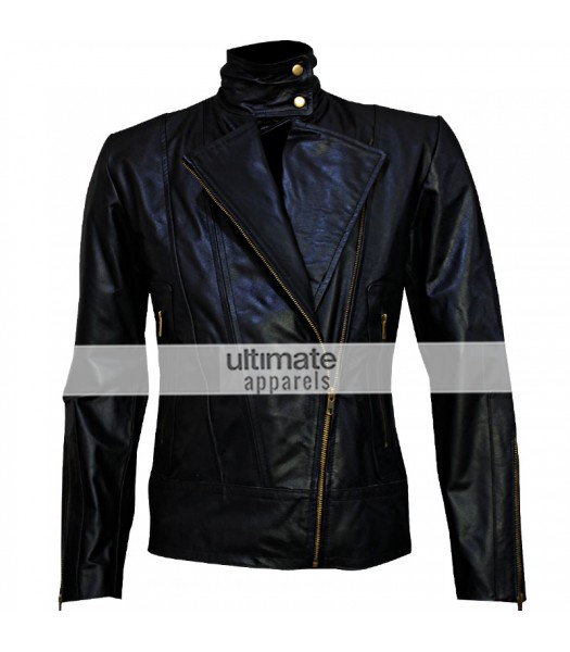 Brando Women's Black Body Fitted Motorcycle Leather Jacket