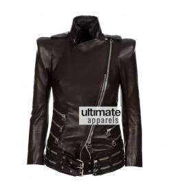 Women Balmain Black Double Zip Biker Moto Jacket