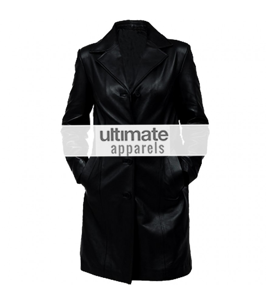 Women's Black Trench Leather Long Coat Jacket