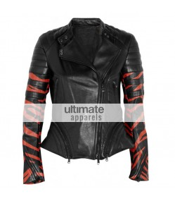 3.1 Phillip Lim Tiger Print Black Leather Biker Jacket