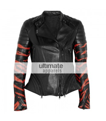 3.1 Phillip Lim Tiger Print Black Leather Biker Jacket
