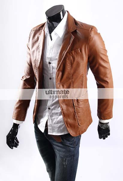 Mens Tan Leather Blazer - Best Blazer 2017